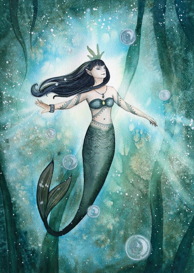Hand gezeichnete Aquarellillustration Nixe unter dem Meer lizenzfreie abbildung