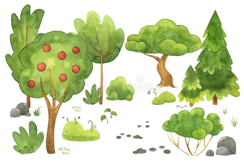 Hand gezeichnete Aquarellillustration Satz verschiedene B?ume und B?sche Grünpflanzen lokalisiert auf Weiß landschaft stock abbildung