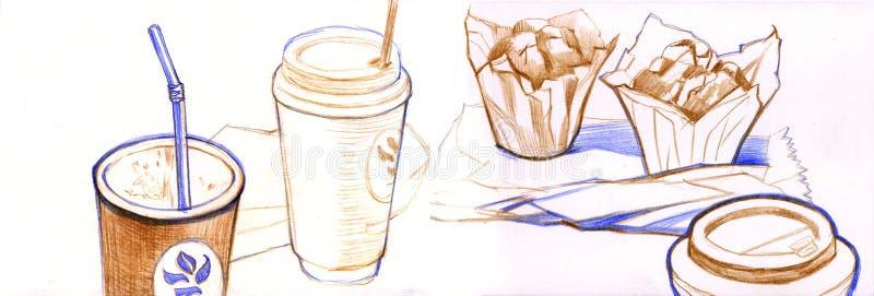 Hand gezeichnete Aquarellkaffeeskizze Färben Sie Bleistift stock abbildung