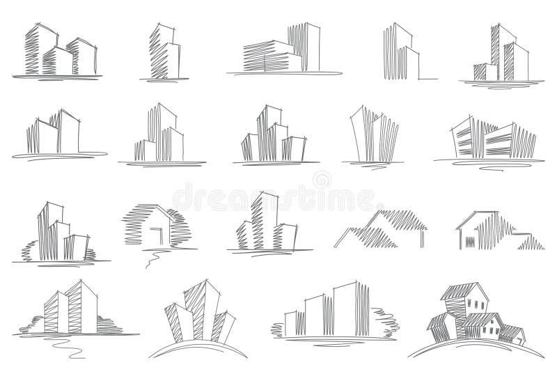 Download Hand Gezeichnete Architekturskizzen Vektor Abbildung