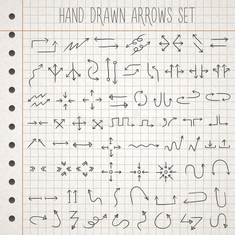 Hand gezeichnete Artpfeile eingestellt vektor abbildung
