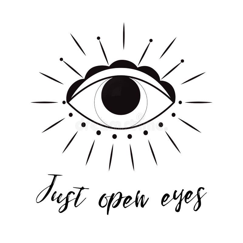 Hand gezeichnete Auge Gekritzelart Tätowierungsgestaltungselement Die Vektorillustration des dritten Auges lizenzfreie abbildung