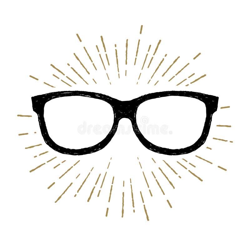 Hand gezeichnete Augenglas-Vektorillustration stock abbildung