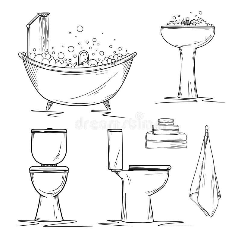 Hand gezeichnete Badezimmerinnenraumelemente Toilette und Waschbecken, Bad und Tücher lizenzfreie abbildung