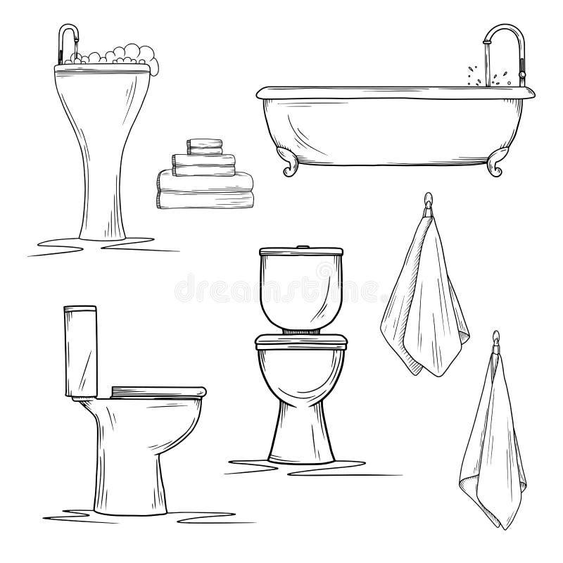 Hand gezeichnete Badezimmerinnenraumelemente Toilette und Waschbecken, Bad und Tücher stock abbildung