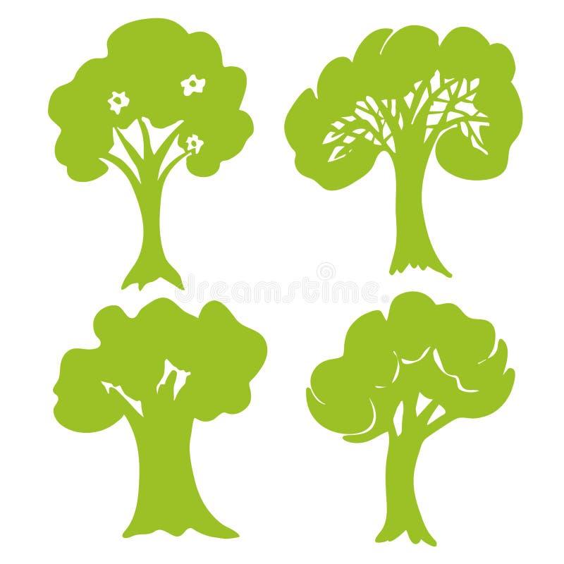 Hand gezeichnete Baumsammlung Satz grüne Baumschattenbilder lokalisiert auf weißem Hintergrund Vektor lizenzfreie abbildung