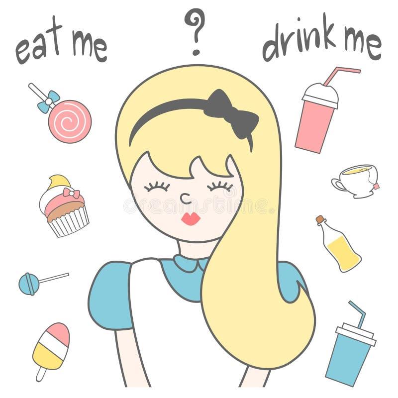 Hand gezeichnete Beschriftung essen mich trinken mich Kartenillustration mit Alice im Märchenland, Süßigkeiten, Saft, Tee, Eiscre lizenzfreie abbildung