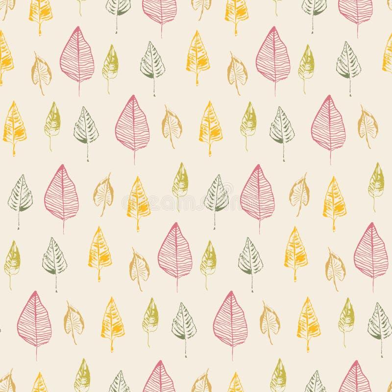 Hand gezeichnete Blätter Vector nahtloses Muster Stilisiertes Bild des Gekritzels Herbstlaubfallhintergrund vektor abbildung