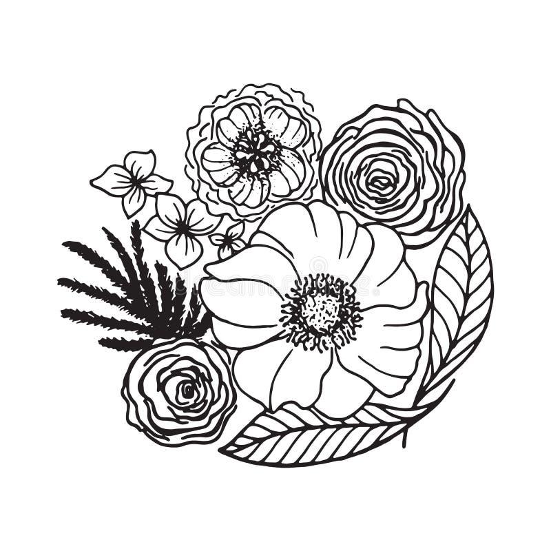 hand gezeichnete blumen stock abbildung illustration von