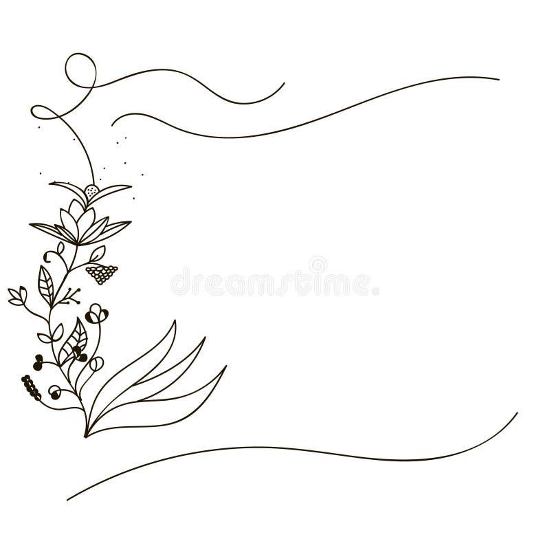Hand gezeichnete Blumen-Karten-Schablone stock abbildung