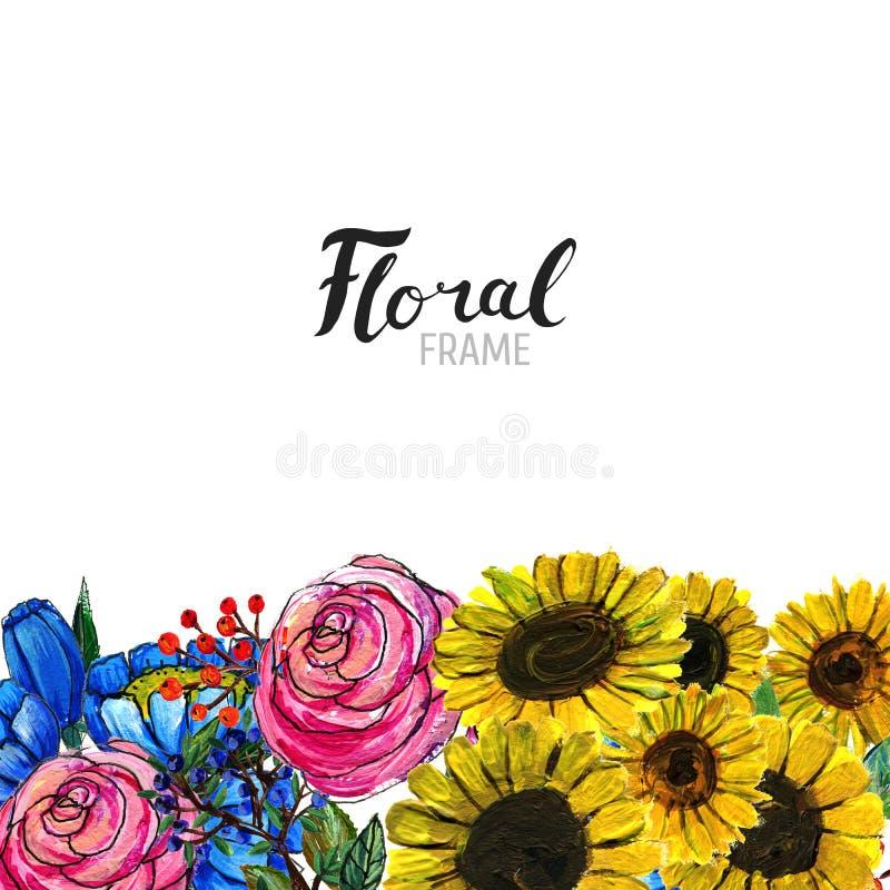 Hand gezeichnete Blumengrenze stock abbildung