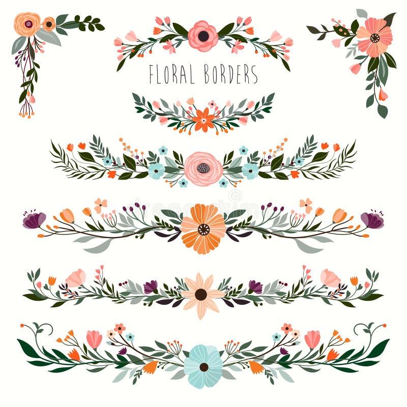 Hand gezeichnete Blumengrenzsammlung stockfotos