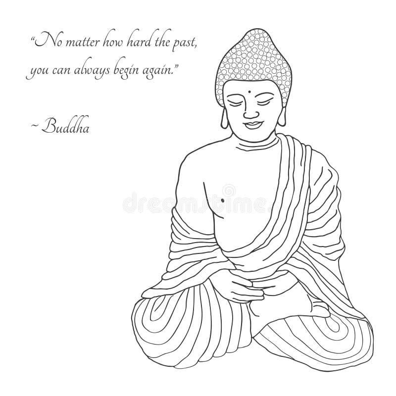 Hand gezeichnete Buddha-Illustration vektor abbildung