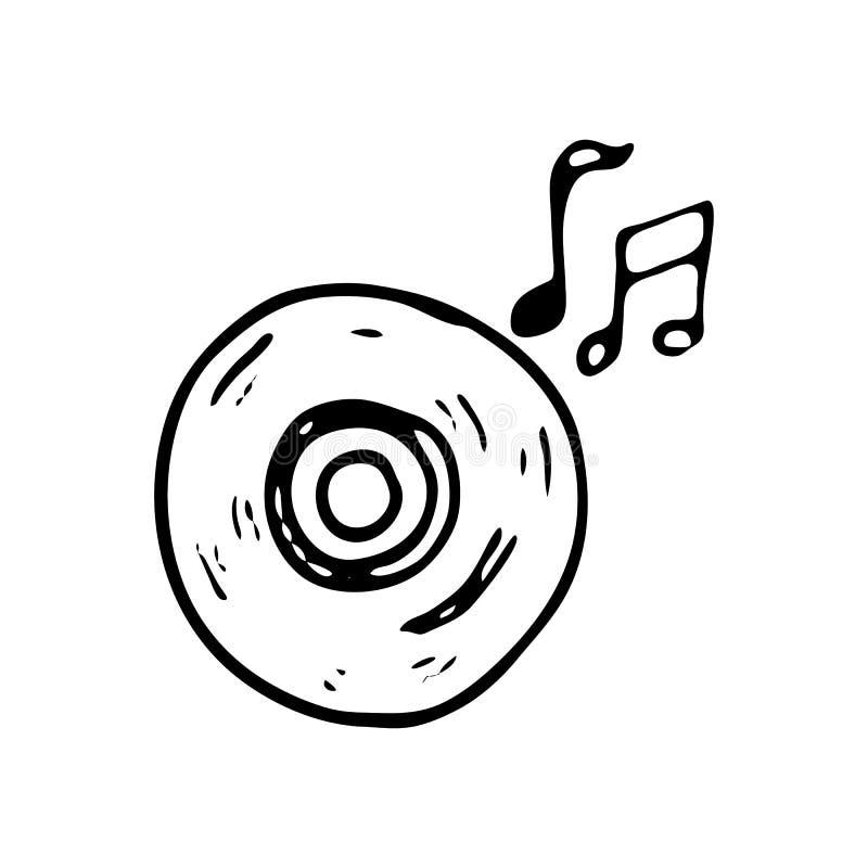 Hand gezeichnete CD mit Musikanmerkungs-Gekritzelikone Hand gezeichnetes schwarzes sket stock abbildung