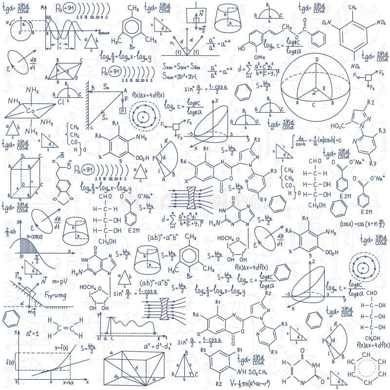 Hand gezeichnete Chemieformeln Wissenschafts-Wissensbildung vektor abbildung