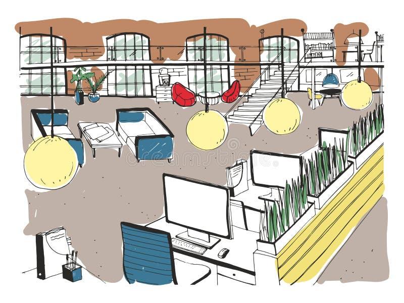 Hand gezeichnete coworking Gruppe Moderner Büroinnenraum, offener Raum Arbeitsplatz mit Computern, Laptops, Beleuchtung und Platz stock abbildung