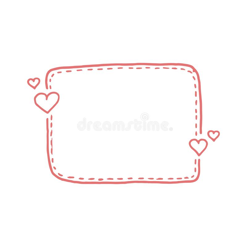 Hand gezeichnete dashed line Kästen des Zitats Kritzeln Sie Art Netter reizender Hintergrund für Ihren Liebestext vektor abbildung