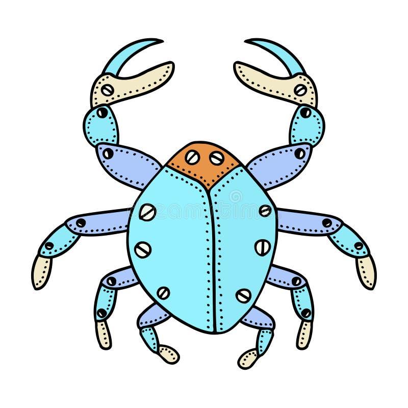 Hand gezeichnete dekorative Krabbe lizenzfreie abbildung