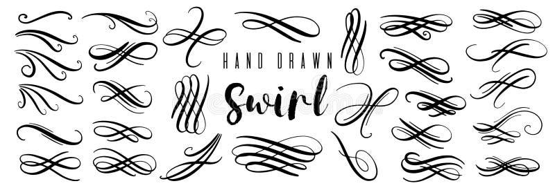 Hand gezeichnete dekorative Locken und Strudelsammlung Weinlesevektorgestaltungselemente stock abbildung