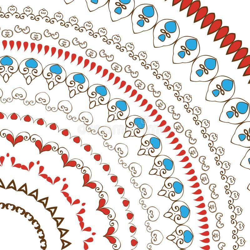Hand gezeichnete dekorative Spitzen- Blumenbürsten lizenzfreie abbildung