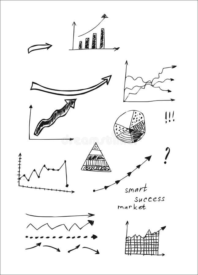 Hand gezeichnete Designvektorillustration, Satz Pfeile in den Gekritzeln stock abbildung