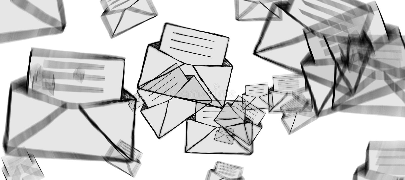 Hand gezeichnete E-Mail-Ikonenillustration stock abbildung
