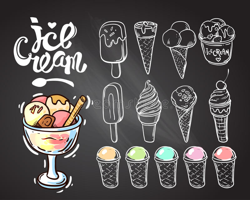 Hand gezeichnete Eiscreme lizenzfreie abbildung
