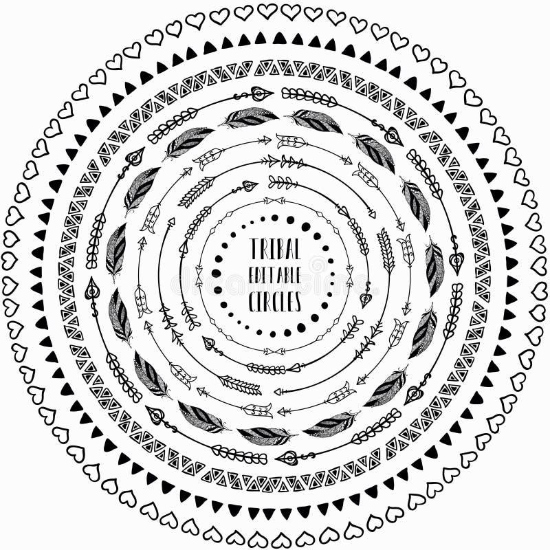 Hand gezeichnete ethnische Kreisrahmen Editable Muster-Bürsten vektor abbildung