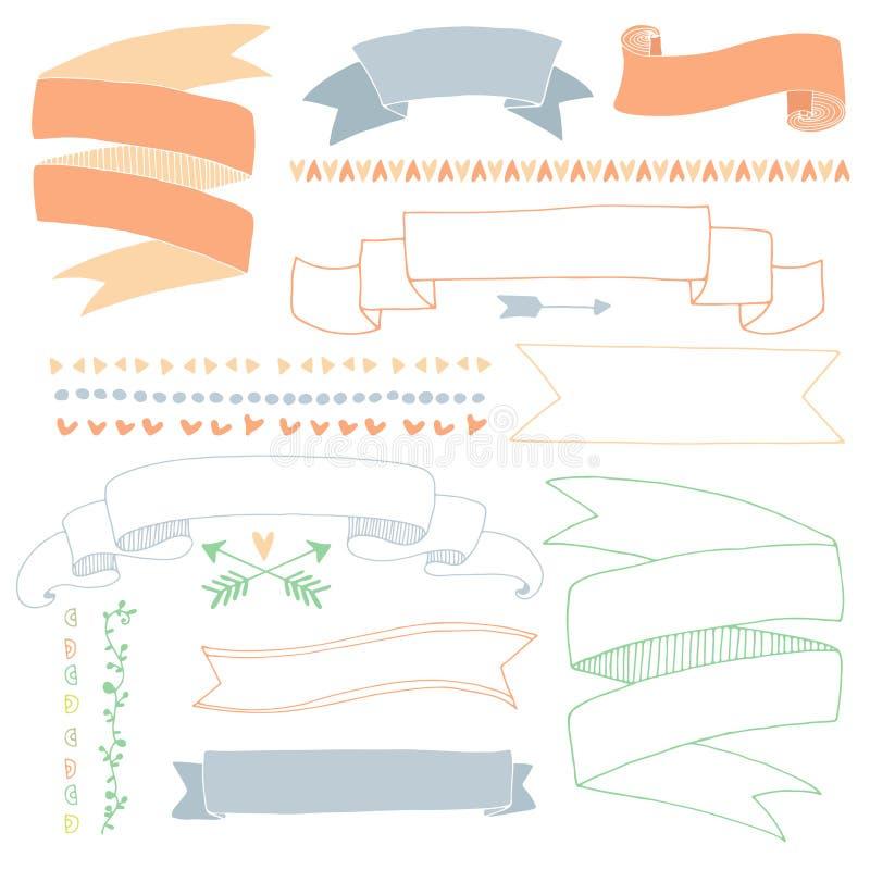 Hand gezeichnete Fahnen stock abbildung