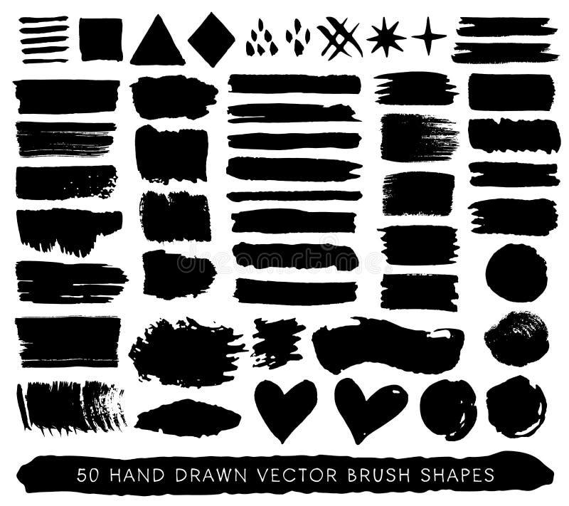 Hand gezeichnete Farbenschmutzbürstenanschläge, -tropfen und -formen Vektor lizenzfreie abbildung