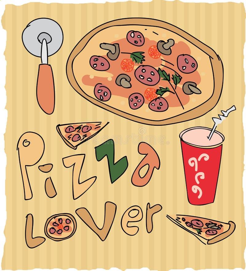 Hand gezeichnete farbige Illustration des Pizzaliebhabers stock abbildung