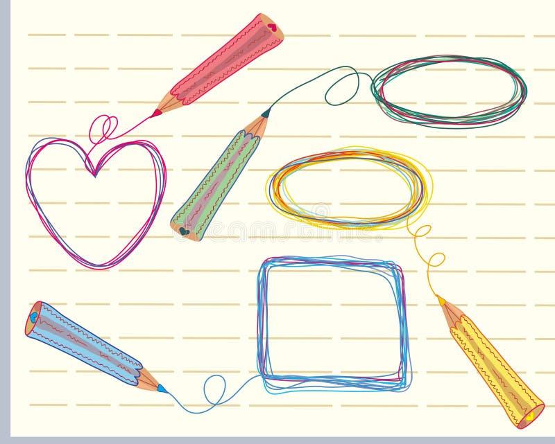 Hand gezeichnete Felder und Bleistifte lizenzfreie abbildung