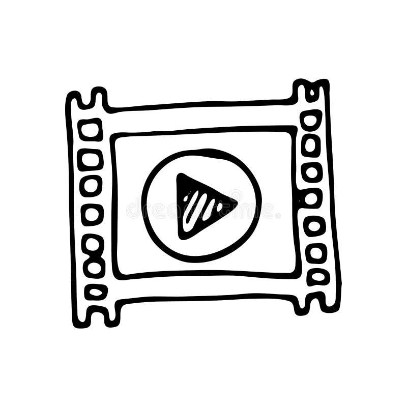 Hand gezeichnete Filmgekritzelikone Hand gezeichnete schwarze Skizze Zeichen symbo lizenzfreie abbildung