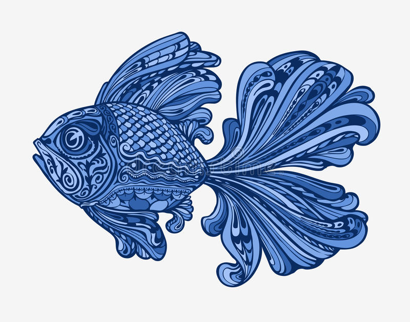 Hand gezeichnete Fische Ethnische Muster Auch im corel abgehobenen Betrag vektor abbildung