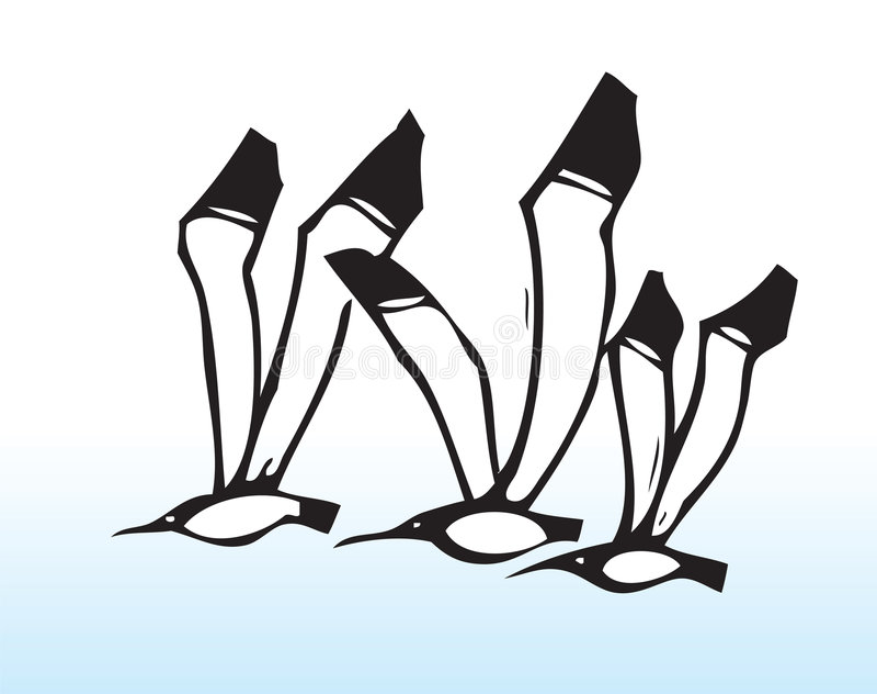 Hand gezeichnete Flugwesenvögel lizenzfreie abbildung