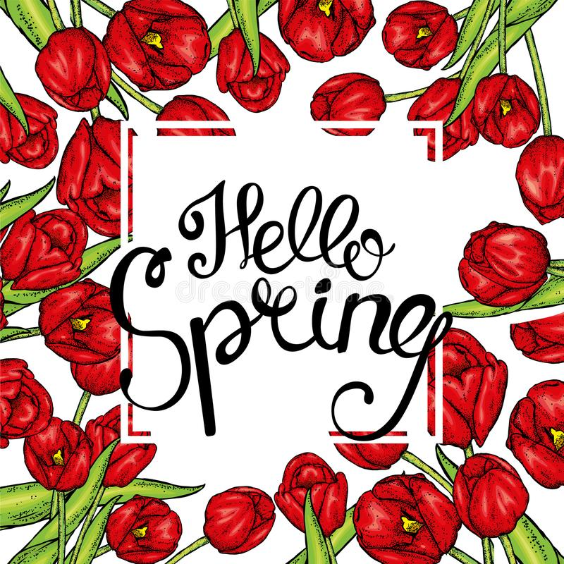 Hand gezeichnete Frühlingsblumenfahne Farbige Tulpe Willkommener Frühling Hand gezeichnete Abbildung lizenzfreie abbildung