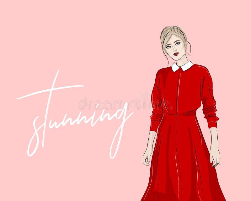 Hand gezeichnete Frau in der roten Kragenkleidermodeillustration Moderne Einkaufsskizze Vektorillustrationszeitschriften-Blickdru lizenzfreie abbildung