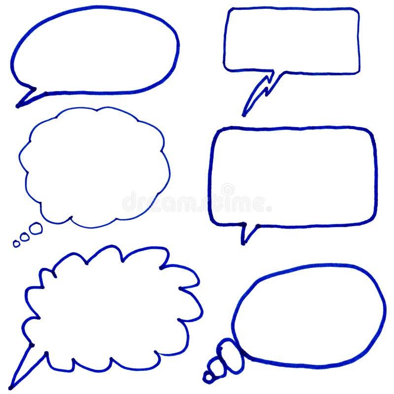 Hand gezeichnete Gedankenluftblasen. lizenzfreie abbildung
