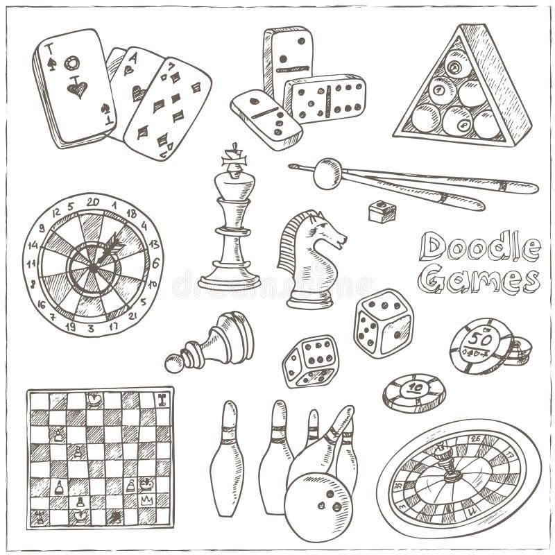 Hand gezeichnete Gekritzel Spiele eingestellt Schachfigur, Kasinoroulette, Karten, Billard stock abbildung