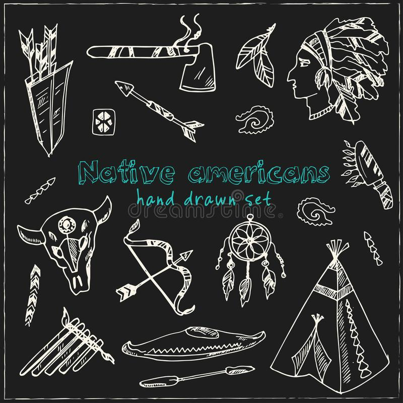 Hand gezeichnete Gekritzelamerikanische ureinwohner eingestellt stock abbildung