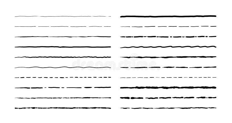 Hand gezeichnete Gekritzellinien Weinlese unterstreichen Grenzelemente, Karikaturrahmensatz, Bleistiftschmutzdekoration Stiftansc lizenzfreie abbildung