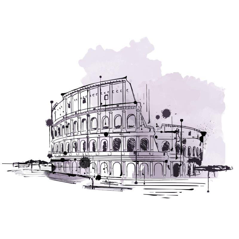 Hand gezeichnete Gekritzelskizze des Colosseum, Rom vektor abbildung
