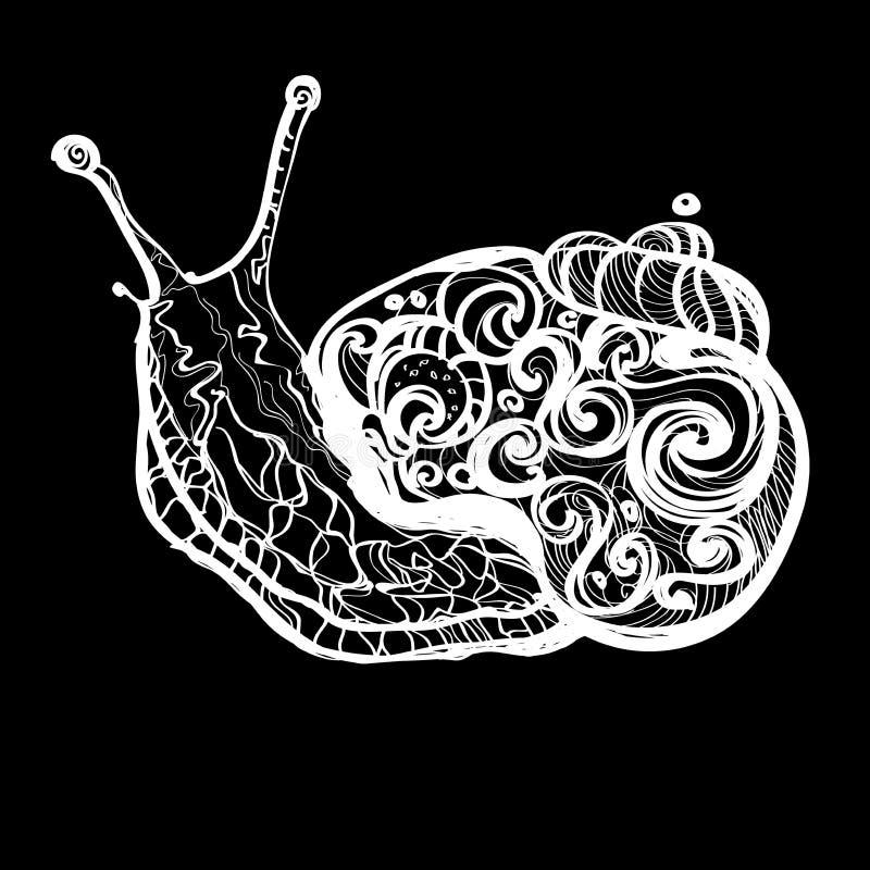 Hand gezeichnete Gekritzelvektorentwurfs-Schneckenillustration verziert mit abstrakten Verzierungen Abstrakte mobochrome Schnecke lizenzfreie abbildung