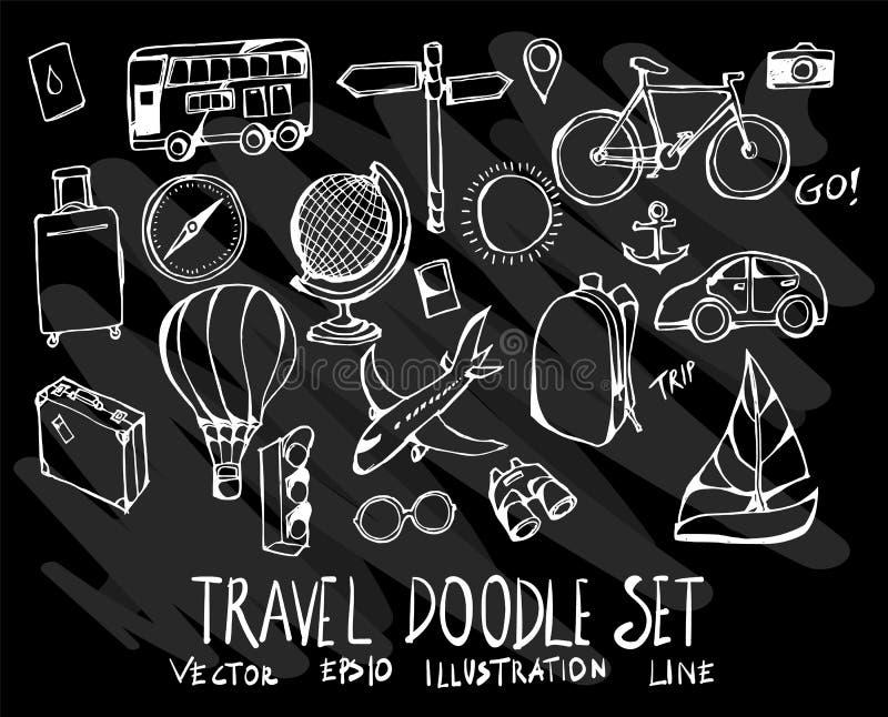 Hand gezeichnete Gekritzelvektorlinie Reiseelementikone stellte auf Chalkbo ein stock abbildung