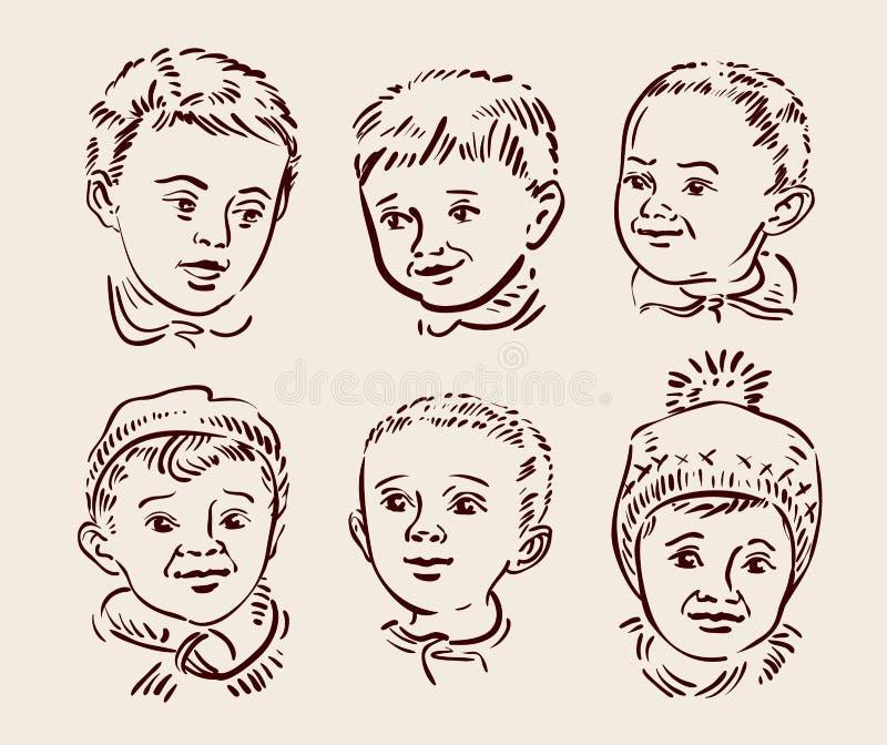 Hand gezeichnete gesetzte Kinder der Skizze Vektor lizenzfreie abbildung