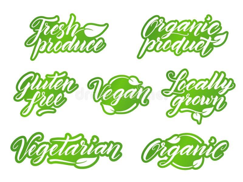 Hand gezeichnete gesunde Lebensmittelbeschriftung Retro- angeredeter Aufkleber, Logo, vektor abbildung