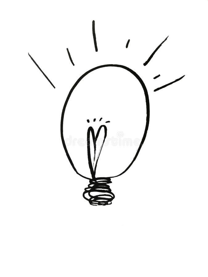 Hand gezeichnete Glühlampen stockfotografie