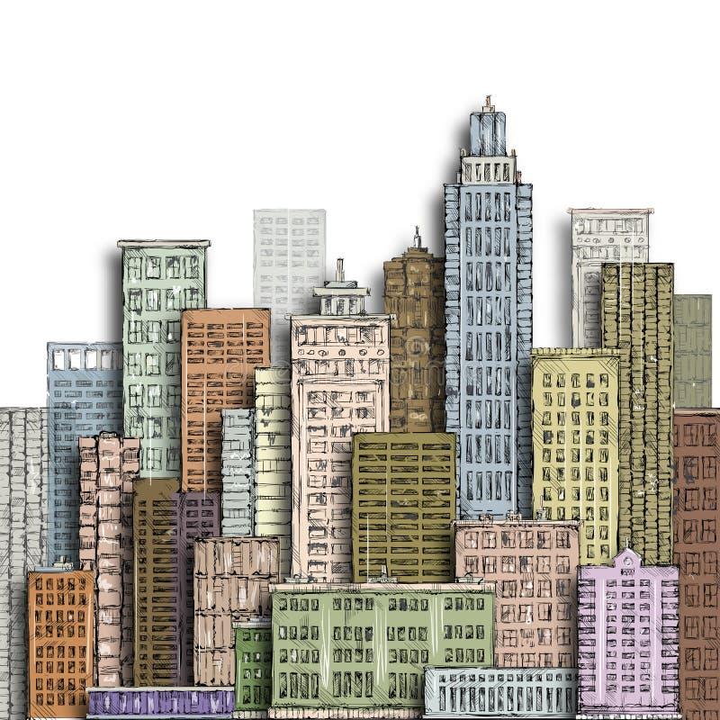 Hand gezeichnete Großstadt Weinleseillustration mit Architektur, Wolkenkratzer, megapolis, Gebäude, im Stadtzentrum gelegen stock abbildung