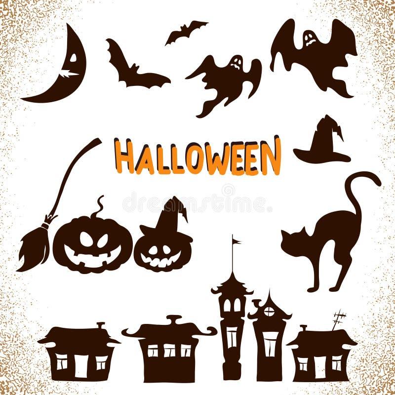 Hand gezeichnete Halloween-Ikonen eingestellt stock abbildung