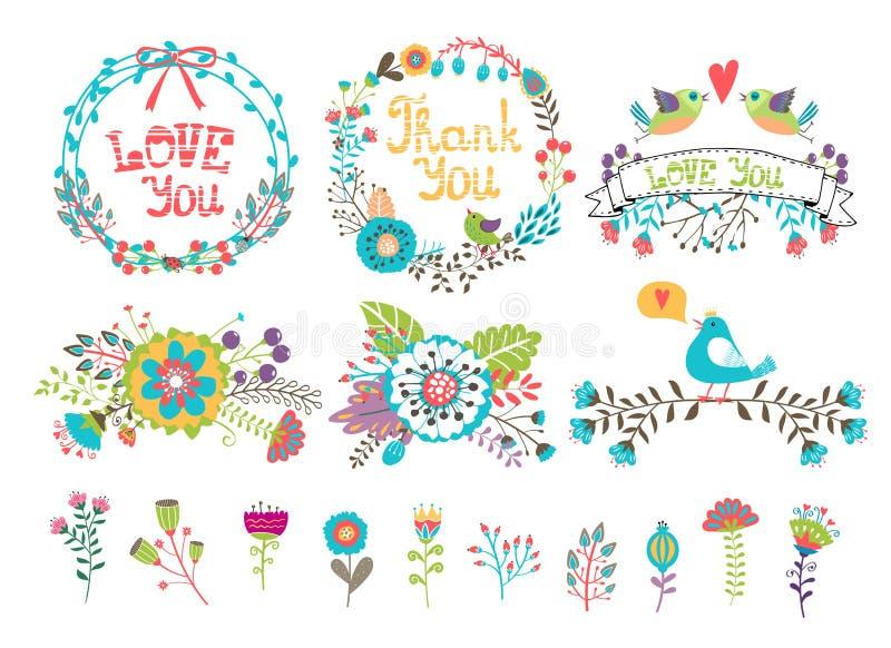 Hand gezeichnete Heiratsgraphik Blumen und Kränze lizenzfreie abbildung
